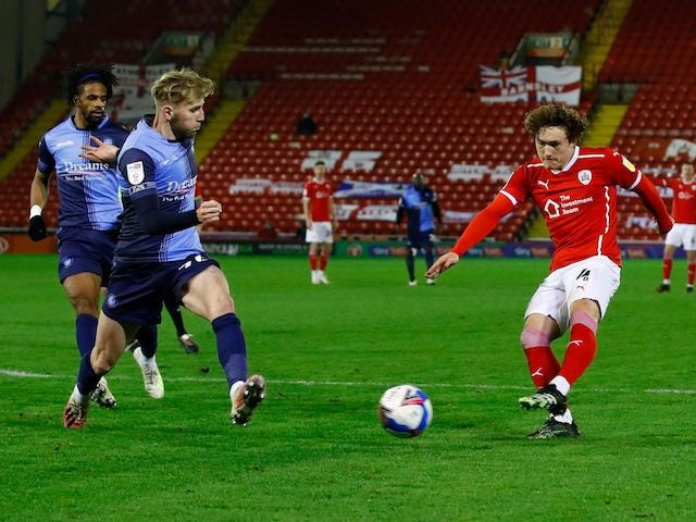 Barnsley's Callum Styles scores against Wycombe Wanderers in the Championship on December 9, 2020
