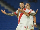 Danny Ings celebrates scoring for Southampton against Brighton & Hove Albion in the Premier League on December 7, 2020