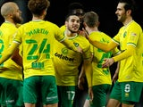 Teemu Pukki celebrates with teammates after scoring for Norwich City against Blackburn Rovers in the Championship on December 12, 2020