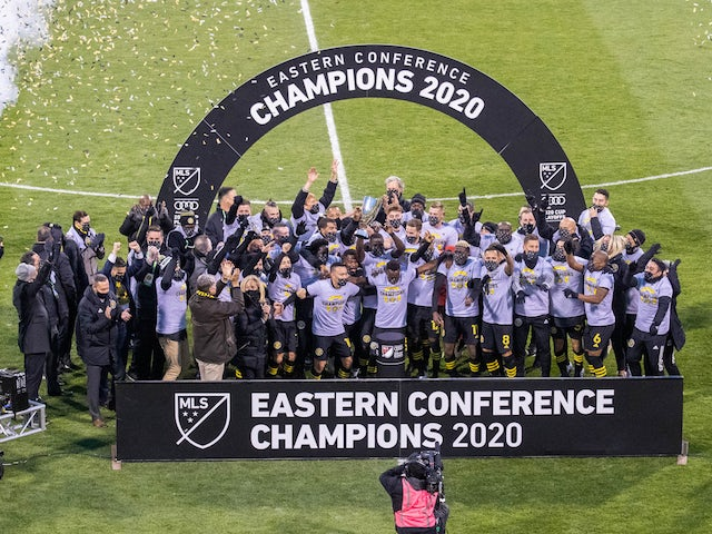 Columbus Crew players celebrate winning the Eastern Conference in the MLS in December 2020