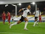 Fulham's Bobby Decordova-Reid celebrates scoring against Liverpool in the Premier League on December 13, 2020