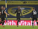 Angelo Ogbonna celebrates scoring for West Ham United against Leeds United in the Premier League on December 11, 2020