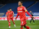Bayer Leverkusen's Leon Bailey celebrates scoring against Arminia Bielefeld in the Bundesliga on November 21, 2020