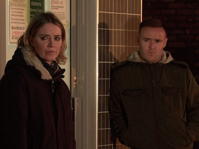 Abi and Tyrone on Coronation Street on New Year's Day, 2021