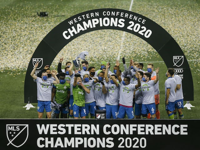 Seattle Sounders players celebrate winning the Western Conference in December 2020