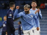 Manchester City's Sergio Aguero celebrates scoring against Marseille in the Champions League on December 9, 2020