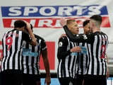Newcastle United's Dwight Gayle celebrates scoring against West Bromwich Albion in the Premier League on December 12, 2020