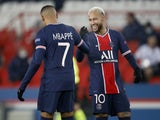 Paris Saint-Germain PSG duo Neymar and Kylian Mbappe celebrate after scoring against Istanbul Basaksehir on December 9, 2020