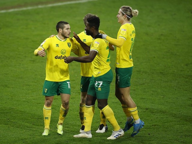 Norwich City's Emiliano Buendia celebrates scoring against Nottingham Forest in the Championship on December 9, 2020