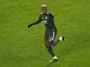Manchester United's Paul Pogba celebrates scoring against RB Leipzig in the Champions League on December 9, 2020