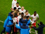 RB Leipzig celebrate after Justin Kluivert scores against Manchester United in the Champions League on December 8, 2020