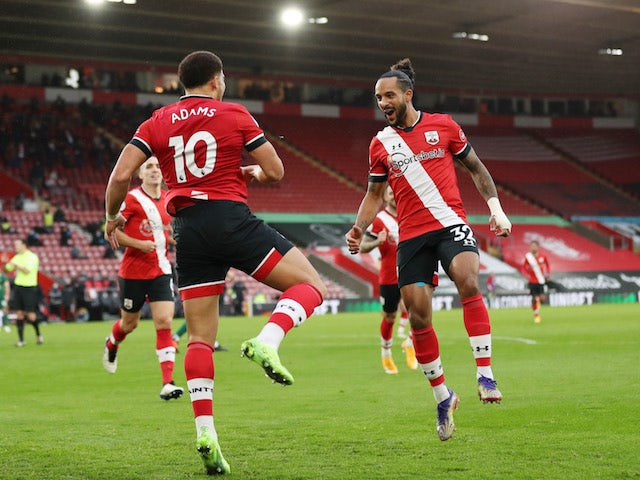 Southampton's Che Adams celebrates scoring against Sheffield United in the Premier League on December 13, 2020