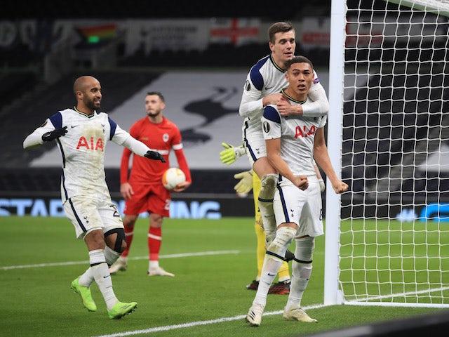 Tottenham Hotspur's Carlos Vinicius celebrates scoring against Royal Antwerp in the Europa League on December 10, 2020