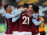 Anwar El Ghazi celebrates scoring for Aston Villa against Wolverhampton Wanderers in the Premier League on December 12, 2020