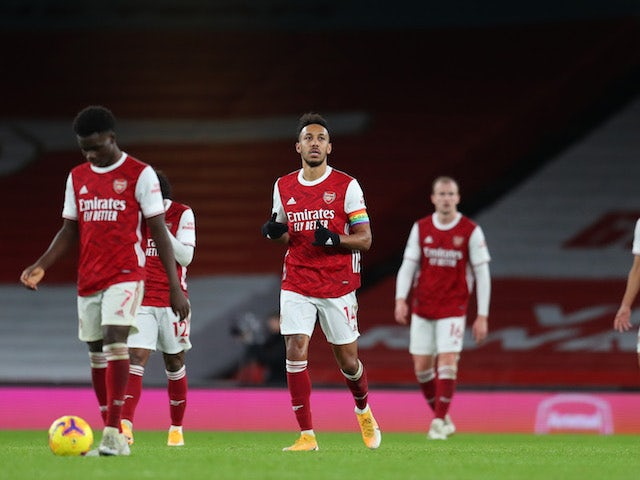 Arsenal players look dejected after conceding against Burnley on December 13, 2020