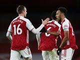 Arsenal's Pierre-Emerick Aubameyang celebrates scoring against Southampton in the Premier League on December 16, 2020