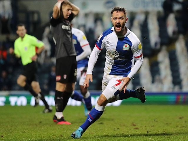 Blackburn Rovers' Adam Armstrong celebrates scoring against Rotherham United in the Championship on December 16, 2020