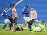 Brighton & Hove Albion's Danny Welbeck celebrates scoring against Sheffield United in the Premier League on December 20, 2020