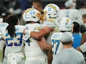 LA Chargers celebrate beating the Las Vegas Raiders on December 18, 2020