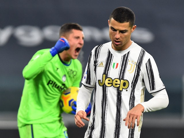 Juventus attacker Cristiano Ronaldo reacts after missing a penalty against Atalanta BC in Serie A on December 16, 2020