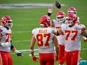 Kansas City Chiefs tight end Travis Kelce celebrates with teammates after scoring a touchdown against the Miami Dolphins on December 13, 2020