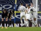 Leeds United's Stuart Dallas celebrates scoring against Newcastle United in the Premier League on December 16, 2020