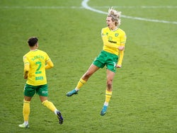 Todd Cantwell celebrates scoring for Norwich City against Cardiff City in the Championship on December 19, 2020