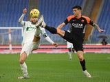 Sassuolo's Domenico Berardi in action with Roma's Roger Ibanez in Serie A on December 6, 2020