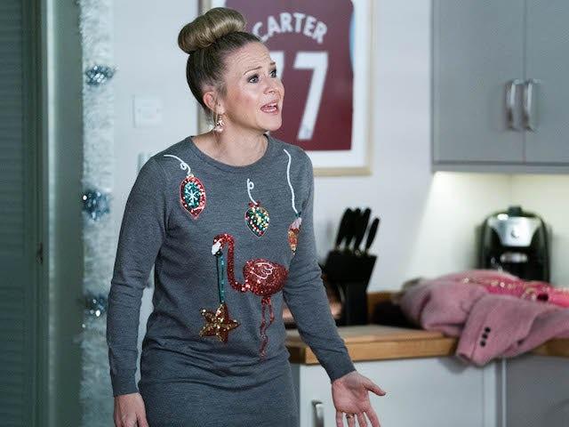 Linda on EastEnders on Christmas Eve 2020