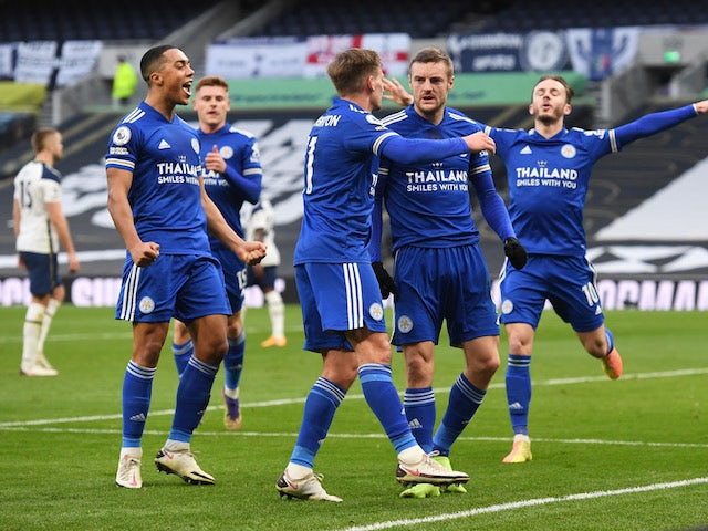 Leicester City's Jamie Vardy celebrates scoring against Tottenham Hotspur in the Premier League on December 20, 2020