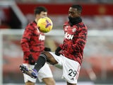 Manchester United defender Aaron Wan-Bissaka pictured warming up in December 2020