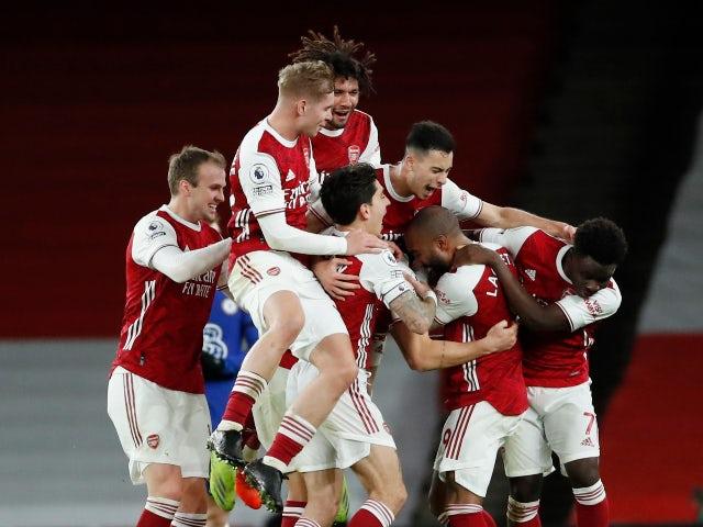 Granit Xhaka celebrates scoring for Arsenal against Chelsea in the Premier League on December 26, 2020