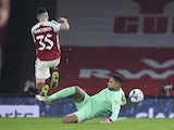 Arsenal's Gabriel Martinelli in action with Manchester City's Zack Steffen in the EFL Cup on December 22, 2020