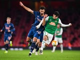Arsenal's Pablo Mari in action with Rapid Vienna's Yusuf Demir in the Europa League on December 3, 2020