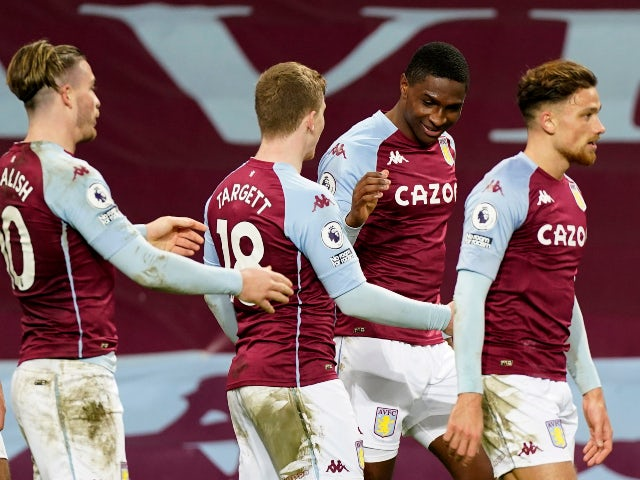 Kortney Hause celebrates scoring for Aston Villa against Crystal Palace on December 26, 2020