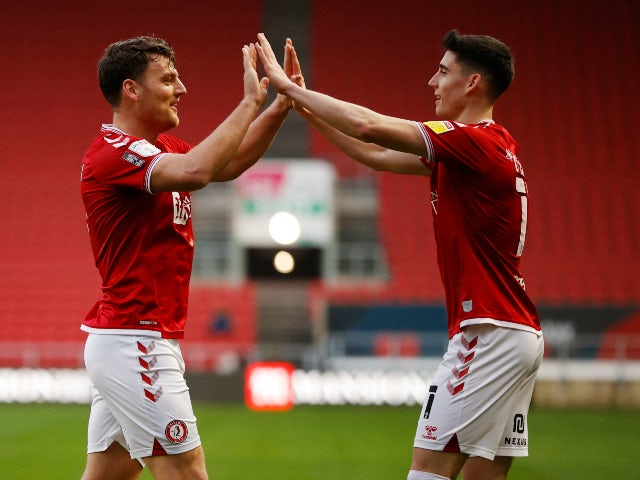 Bristol City's Chris Martin celebrates scoring against Wycombe Wanderers in the Championship on December 26, 2020