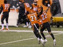 Cincinnati Bengals cornerback Mackensie Alexander celebrates with cornerback William Jackson after breaking up a pass against the Pittsburgh Steelers on December 22, 2020