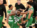 Boston Celtics celebrate against the Milwaukee Bucks on December 24, 2020