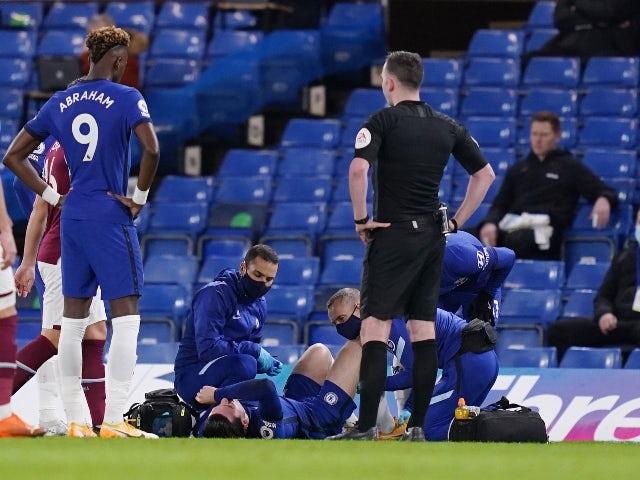 Chelsea's Ben Chilwell goes down injured against West Ham United on December 21, 2020