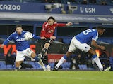Manchester United's Edinson Cavani scores against Everton in the EFL Cup on December 23, 2020