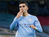 Ferran Torres celebrates scoring for Manchester City against Newcastle United in the Premier League on December 26, 2020