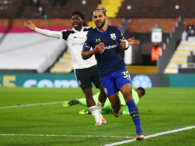 Southampton's Theo Walcott reacts after a disallowed goal against Fulham on December 26, 2020