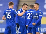 Leicester City's Jamie Vardy celebrates scoring against Manchester United in the Premier League on December 26, 2020