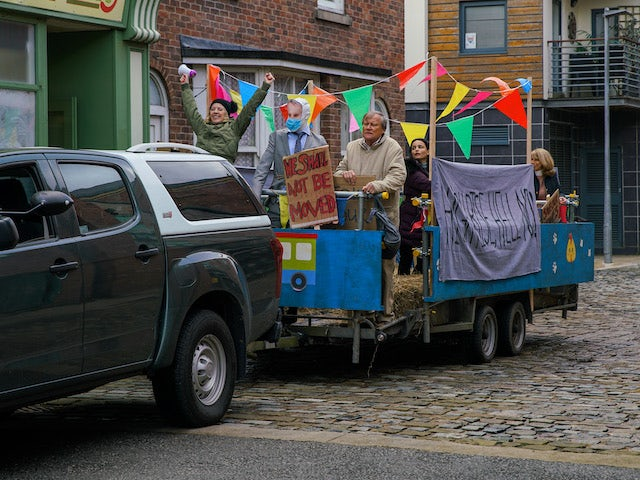 The protestors on the first episode of Coronation Street on January 6, 2021