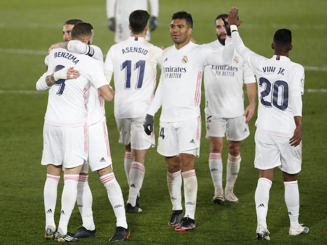 Real Madrid's Casemiro celebrates during the La Liga clash with Granada on December 23, 2020