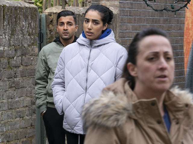 Vinny, Ash and Sonia on EastEnders on January 5, 2021
