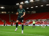 Tottenham Hotspur's Harry Kane celebrates scoring against Stoke City in the EFL Cup on December 23, 2020
