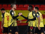 Ismaila Sarr celebrates scoring for Watford against Norwich City in the Championship on December 26, 2020