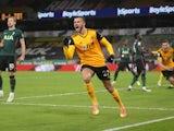 Wolverhampton Wanderers' Romain Saiss celebrates scoring against Tottenham Hotspur in the Premier League on December 27, 2020