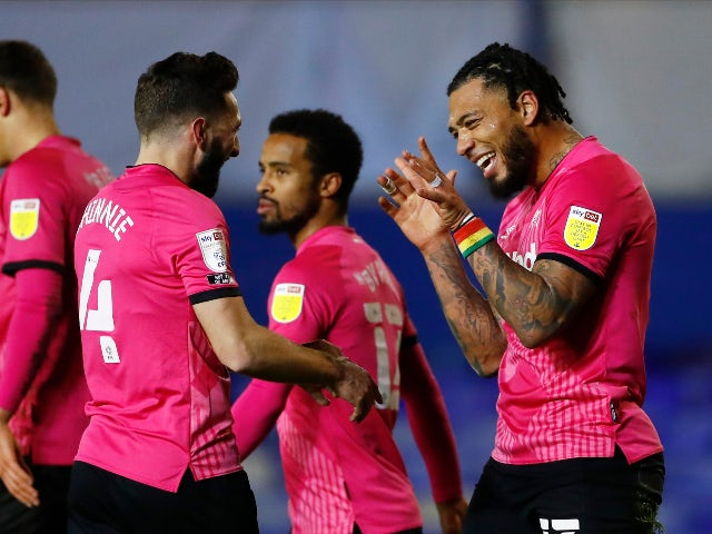 Colin Kazim-Richards celebrates scoring for Derby County against Birmingham City in the Championship on December 29, 2020